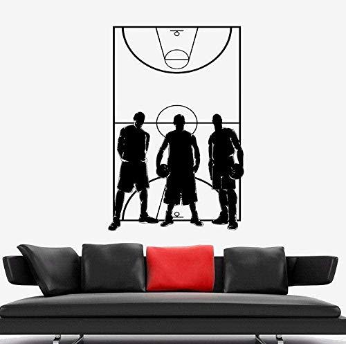 Calcomanía de pared de cancha de baloncesto FFVVE, juego de equipo de baloncesto deportivo, jugador de campo, pegatina de vinilo para ventana, decoración Interior de estadio, 42X62Cm