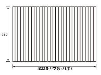 お風呂のふた パナソニック (松下電工 ナショナル) 風呂ふた 巻きふた  RL91054 685×1033.5mm (リブ数 : 31本)