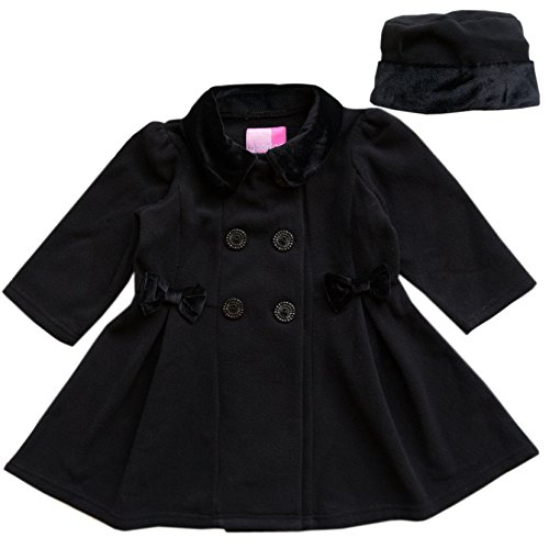 Good Lad 2/6X Girls Black Fleece Coat with Black Velvet Collar, Bows,and Sleeves with Matching Hat (2T)