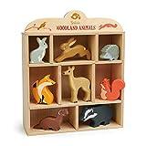 Tender Leaf Toys Estante de madera para animales británicos con conejo, liebre, erizo, zorro, ciervo, ardilla, juguete y tejón