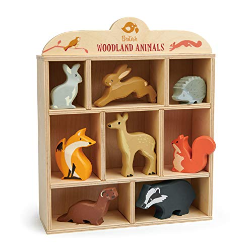 Tender Leaf Toys Woodland Animals – 8 Wooden Forest Animals with a Display Shelf -Classic Toy for Pretend Play – Develops Social  Creative & Imaginative Skills – Learning Role Play – Ages 3+ Years
