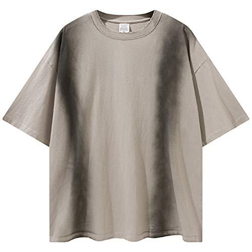 AXDNH Krawatte Farbstofffarbe T-Shirt Männer 100% Baumwolle Beiläufige Streetwear Sommer Top Tees Große Größe Kurzarm,Beige,L