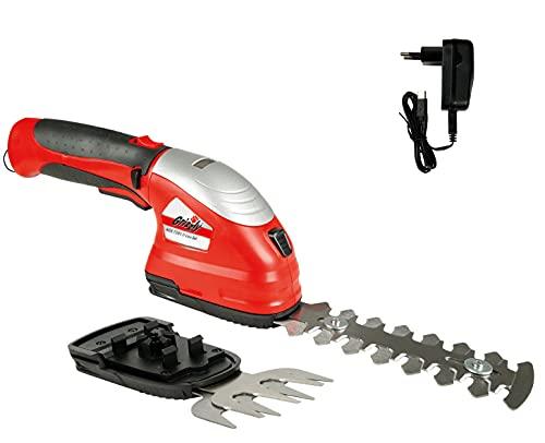 Grizzly Tools 2-in-1 Akku-Garten-Scheren Set inkl. Li-Ion Akku 7.2 V (2.0 Ah) und Schnellladegerät, Grasschere, Strauchschere, Heckenschere, Kantenschere mit Softgrip