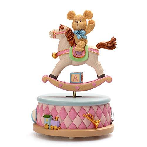 POMNEFE Orso Cavallo a Dondolo Carillon Decorazione Decorazione Domestica Artigianato in Porcellana Fredda Regali di Natale creativi