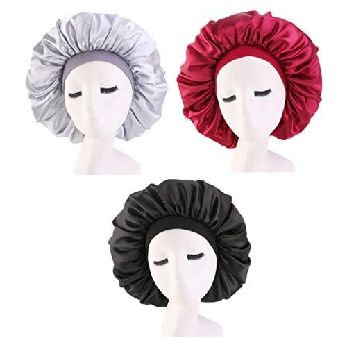 FRCOLOR 3Pcs Bonnet de Nuit Bonnet de Bain Bonnet Bonnet Bonnet de Sommeil Élastique Large Bande Chapeau Nuit Tête de Couchage pour Bien Dormir (Noir Vin Rouge Argent)