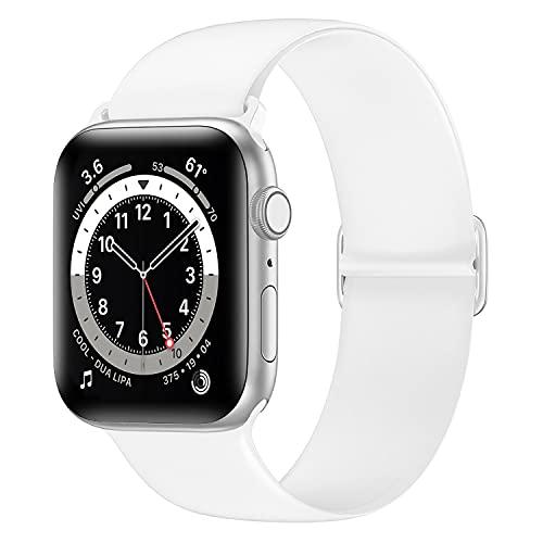 Tasikar Compatibile con Cinturino Apple Watch 40mm 38mm, Cinturini di Ricambio Silicone Morbido, Cinturino Sportivo Elastico Regolabile Compatibile con Apple Watch SE Serie 6 5 4 3 2 1 (Bianca)