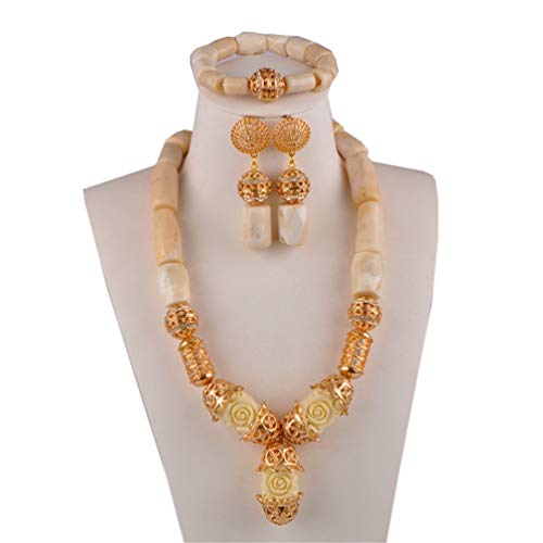 COTZFOZ African Beads Set Jewelry Coral Necklace Jewelry Set for Nigerian Wedding 1R-D-G-White