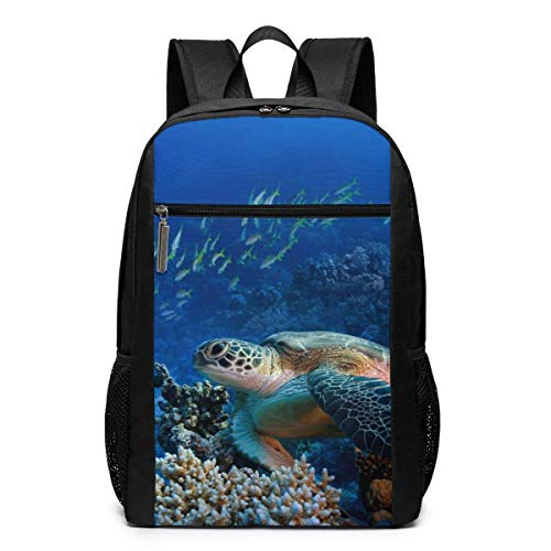 "Giant Sea Turtles Laptop Backpack for Women Men,School College Backpack Travel Backpack Fits 17 Inch Notebook (12"" L X 6.5"" W X 17"" H in)"