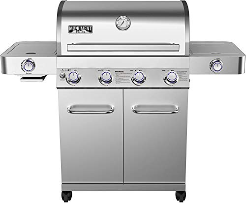 Monument Grills 4-Burner Propane Gas Grill, Stainless, LED Controls, Side & Side Sear Burners-24367 Grills Propane