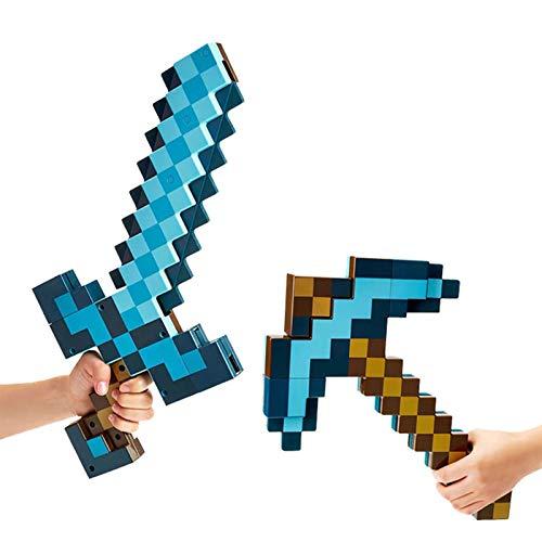 BKCYL Juguete 2 en 1 con Espada transformadora y Pico, Juego de Roles y Accesorios de Armas, Espada de Diamante Azul y Traje de Pico