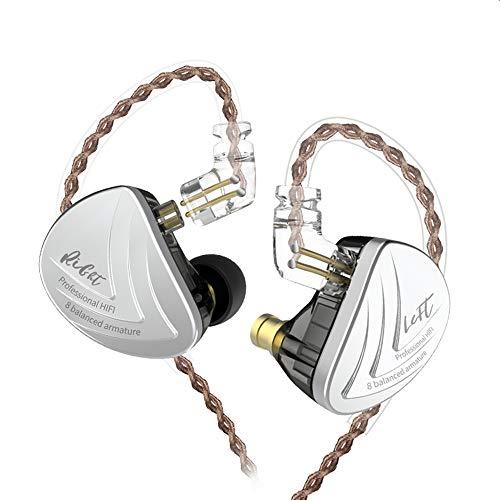 KZ AS10 IEM Auriculares Pure 8equilibrado Armadure, músico en el oído Monitor Auriculares de Alta fidelidad HiFi Audífonos KZ(Negro sin Mic)