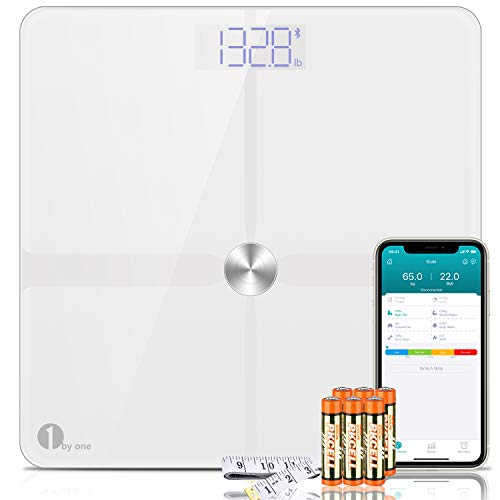 1byone Smart Body Fat Scale, Bluetooth Digital Weight BMI Bathroom Scales with App Support, Accurate ITO Coating, 180 kg / 400 Pounds (lbs), 6 AAA Batteries and 1 Body Tape Measure Included (White)