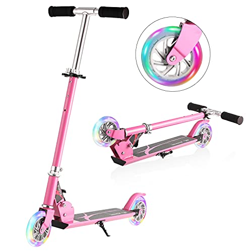 WeSkate Boys Scooter, Kids Scooters Foldable Portable Scooter Adjustable Height 2 LED Lights Up PU Flashing Wheels, Kids Scooter for Girls Boys Age 3-12