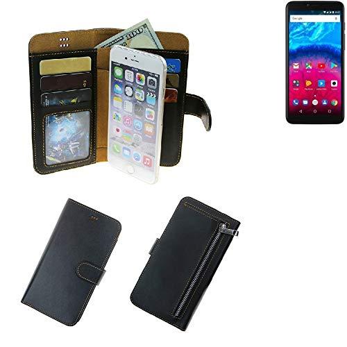 K-S-Trade® Schutzhüll Für Archos Core 57S Schutz Hülle Portemonnaie Hülle Phone Cover Slim Klapphülle Handytasche E Handyhülle Schwarz Aus Kunstleder (1 STK)