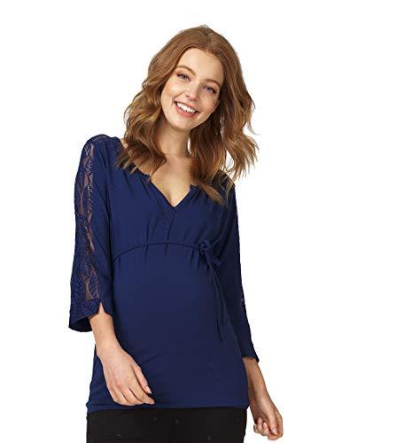 Queen mum 91564 T-Shirt d'allaitement à Manches 3/4 pour Femme avec système de Maintien en Coton Bio certifié GOTS - Bleu - 42