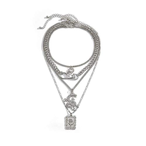 xMxDESiZ Colgante de Plata 925 Collar Colgante de Flores geométricas de dragón de Cristal múltiple de Cristal de múltiples Capas. Collares Pendientes (Metal Color : Dragon Flower)