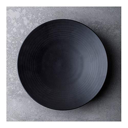 GYY Retro Flacher Mund Keramik Salatschüssel Nudelschüssel rutschfeste Restaurantküche Geeignet für Spülmaschinen-Desinfektionsschrank Norma Schwarz (Color : 2 Packs)
