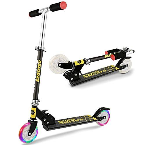 WeSkate Trottinette pour Enfants avec 2 Roues Lumineuses Scooter en Portable pour 4-12 Ans, Modèle Pliable, Poignées Ajustable, Jusqu'à 110lb (Noir 1)