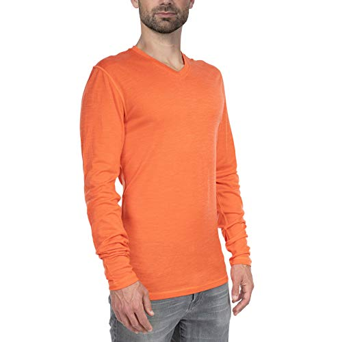 Woolly Clothing Men's Merino Wool V-Neck Long Sleeve Shirt - Ultralight - Wicking Breathable Anti-Odor S TRM