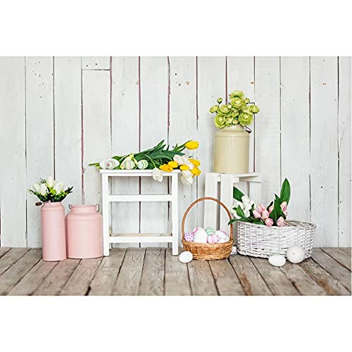 Sfondo fotografico Primavera Uova di Pasqua Tavola di legno bianca Fiore Baby Birthday Party Fotografia Sfondo Studio Photocall-270x180cm