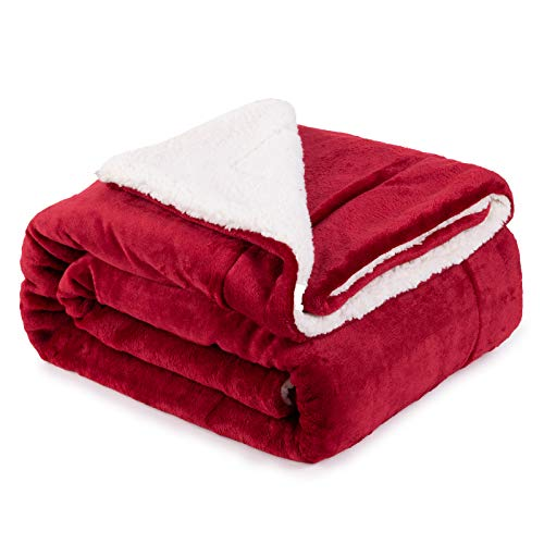 Frogfit Sherpa Fleece Blanket Queen Size Red Warm Lightweight Super Soft Luxury Bed Blanket Microfiber(Red,6080)