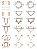 Prjndjw 14G Nipple Rings Nipple Piercing for Women Clear cz Nipple Jewelry Horseshoe Ring Straight Barbarbell Cartilage Earring Tongue Rings 12 Pairs 9/16inch(14MM) Septum Nose Rings Rose Gold