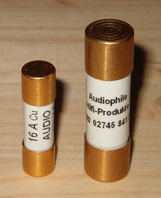 AHP Zylindrische Audio-Sicherung mit CE für Klangmodule 10X38 mm | Stromstärke: 32 Ampere | Kappen: Gold