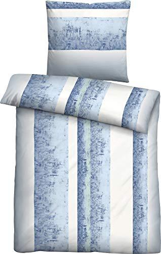TOM TAILOR 0084239 Edelflanell Bettwäsche Garnitur mit Kopfkissenbezug mit Paspel (Baumwolle) 1x 135x200 cm + 1x 80x80 cm, blau