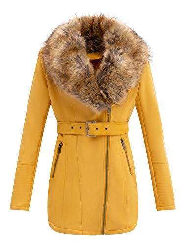 Bellivera Women's Faux Suede Leather Long Jacket, Wonderfully Parka Coat with Detachable Faux Fur Collar 7922 Yellow M