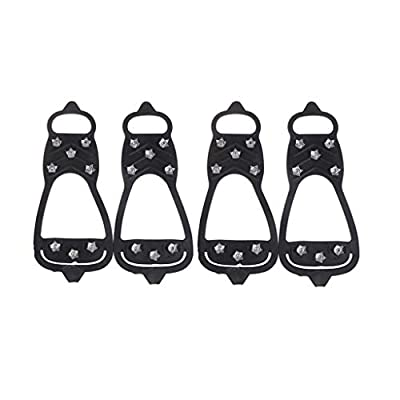 Ice Grips Walk Traction Cleats Ice Cleat Snow Grippers Non-Slip Over Shoe Rubber Spikes Crampons Anti Slip Crampons Slip-on Stretch Footwear IceGrips Walking Grip Spikes for Men and Women Children