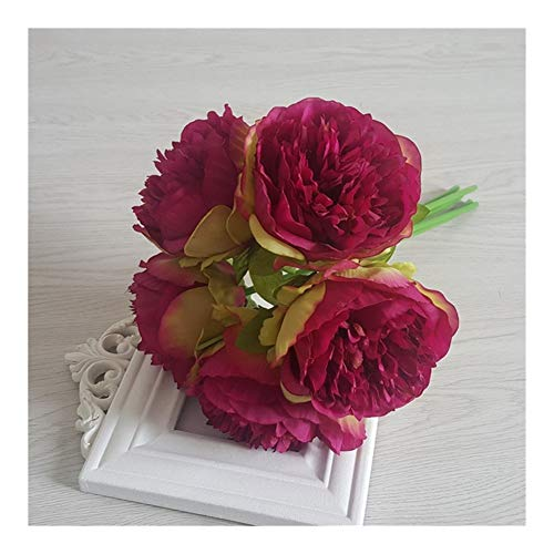 JiaQinHe Remains 5pc Artificial Peony Silk Flowers Fake Flower Arrangement Wedding Bridal Bouquet Home Display Party Festival Decor White Peony Never (Color : Burgundy)