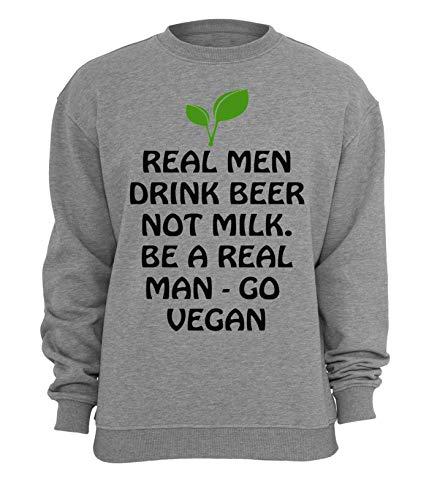 RaMedia echte mannen drinken bier niet melk ga vegan slogan unisex trui