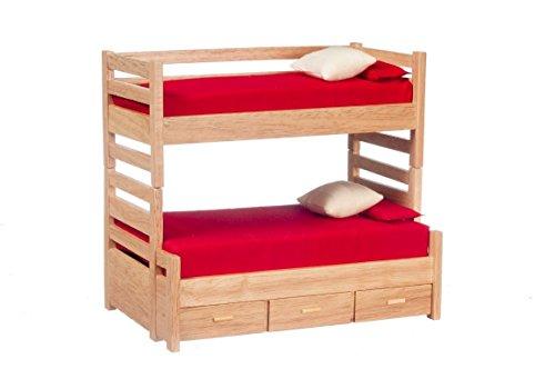 Aztec Imports, Inc. Dollhouse Miniature Oak Bunk Beds with Trundle