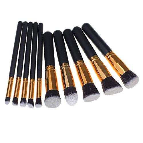 Maquillage professionnel brosse de brosse de beauté Brosse pour fard à joues fard à paupières noir et or 10Pcs