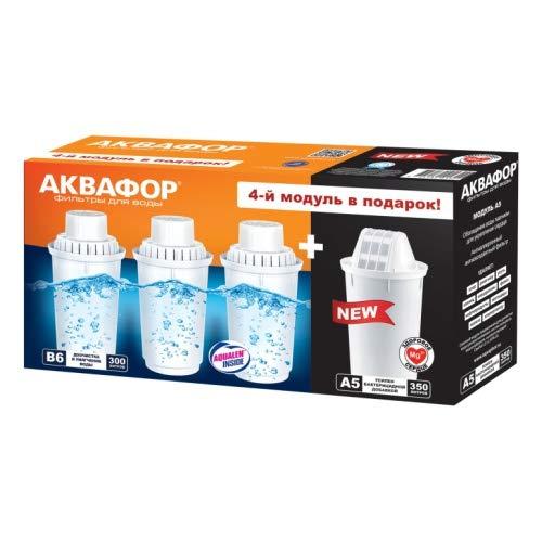 Aquaphor - 4 Cartuchos de Filtro (3 x B6 para Agua Dura + 1 x A5 Magne