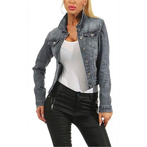 LJLLINGA Chaquetas de Mezclilla Azul Otoño Chaquetas de Mezclilla Jeans de Mujer Abrigos de Mezclilla de un Solo Pecho Ropa Femenina Femenina