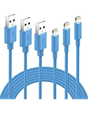 GlobaLink Oplaadkabel MFI Gecertificeerd Lightning Kabel 3 stuks 1M 2M 3M Compatibel met iPhone 11, iPhone X/XS MAX/XR, iPhone 8/8P/7/7P- Blauw