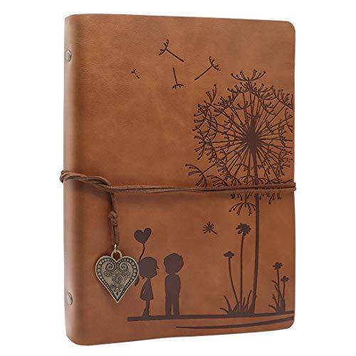 SEEALLDE Leder Notizbuch A5 Leere Seiten Journal Notebook Reisetagebuch Vintage Ringbuch Travel Tagebuch Skizzenbuch
