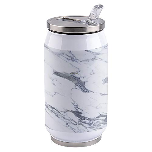 14 oz Stainless Steel Tumbler Marble Texture Double Wall Vacuum Insulated Travel Mug with Lid Straw for Hiking, Camping & Traveling