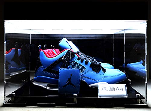 BillyJoe 2 Shoes LED Display Case for Collectibles Basketball Shoes Art UV Protection Panels (2-Shoes LED Display Case)