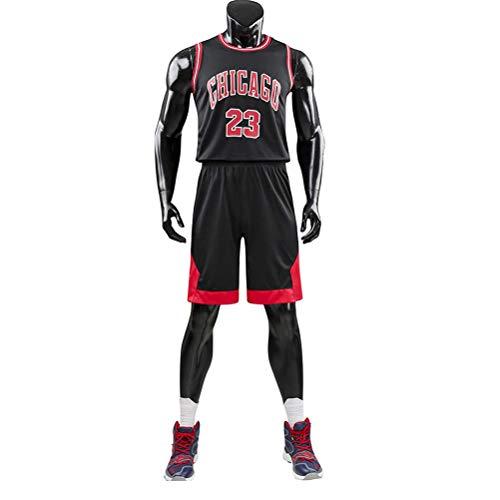 FSBYB Mens 2-Pieza de Baloncesto atléticos sin Mangas y Pantalones Cortos Set, Jordan # 23 Camiseta de Baloncesto Chicago Bulls Verano fijaron el Equipo,Negro,4XL