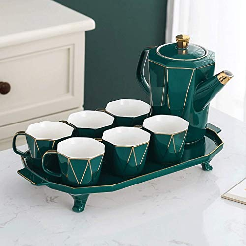 FGDSA Ceramic Water Set Cool Kettle Afternoon Tea Set Teapot Teacup Home Living Room Set with Tray Cup Set coffee cups