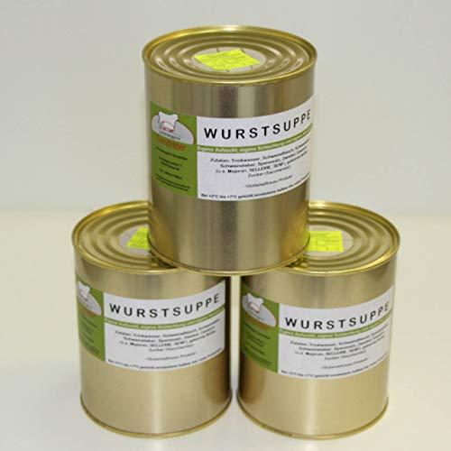 Wurstsuppe 3x800ml Dose, Vorteilsset, Vorratsset, gekühlt im Kühlschrank 6 Monate haltbar, Landmetzgerei Sandritter