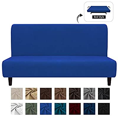Easy-Going Fleece Stretch Sofa Slipcover – Spandex Anti-Slip Soft Couch Sofa Cover, Armless Washable Furniture Protector with Elastic Bottom for Kids, Pets(Futon,Classic Blue)