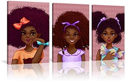 Black little girl wall art 3 Panels Pink Canvas Girls Bedroom Decor African girl Wall Art Black product image