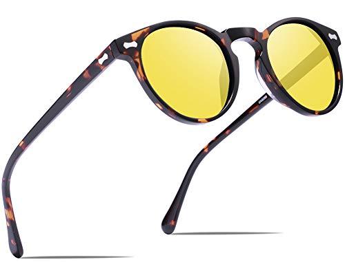 Carfia Runde Damen Herren Nachtsichtbrille Polarisierte Fahrerbrille Retro Acetat Rahmen