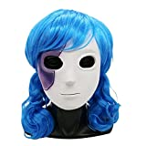 Natural Peluca Juego de Halloween Cosplay Wig Máscara Máscara de látex Pelo Azul Peluca Ondulada Disfraz de Cosplay para Decoración de Halloween Pelucas Mujer (Color : Mask Wig Set)