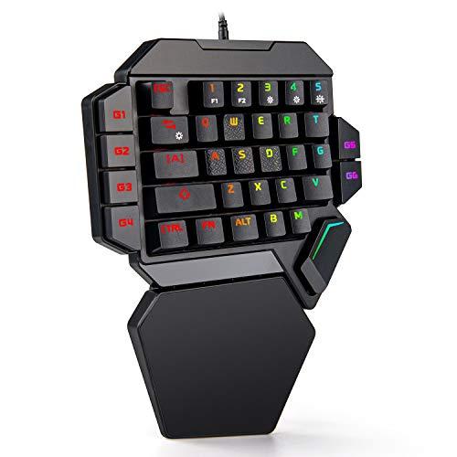 Tastiera da Gioco Meccanica a Una Mano RedThunder - Interruttori Blu Retroilluminato RGB 35 Tasti Mini Tastiera Portatile da Gioco - Controller di Gioco Ergonomico per PC/MAC / PS4 / XBOX ONE Game