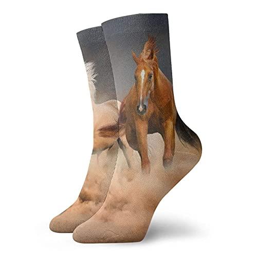 AOOEDM Horse Running Calcetines cortos unisex Calcetines que absorben la humedad Calcetines casuales personalizados Funky divertidos La mejor opción para la colocación de ropa y regalos