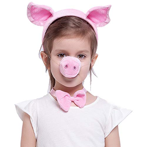 Pink Animal Costume Accessories Set with Pig Nose, Ears, Bowtie and Tail for Halloween Party, Farm Theme Dress Up, Classroom Role Play.